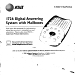 AT&T Answering Machine 1726 User's Manual