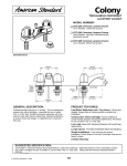 American Standard Two- Handle Centerset Lavatory Faucet 2275.205 User's Manual