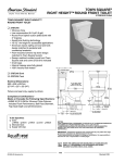 American Standard Town Square Right Height Round Front Toilet 2787.016 User's Manual