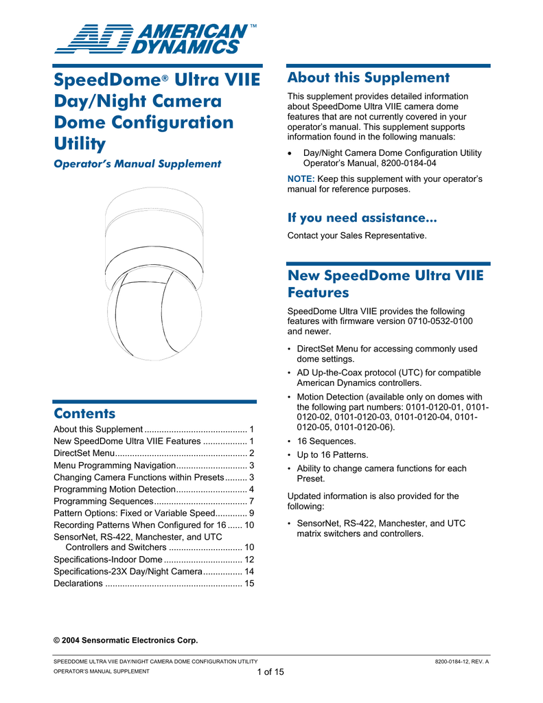 American Dynamics ULTRA VIIE User's Manual