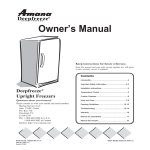 Amana Deepfreeze Upright Freezers User's Manual