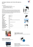 V7 Stereo Earbuds with Inline Microphone - Black