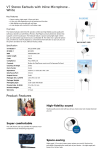 V7 Stereo Earbuds with Inline Microphone - White