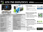MSI N750-2GD5/OCV1 NVIDIA GeForce GTX 750 2GB