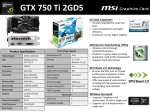 MSI N750TI-2GD5/OC NVIDIA GeForce GTX 750 Ti 2GB graphics card