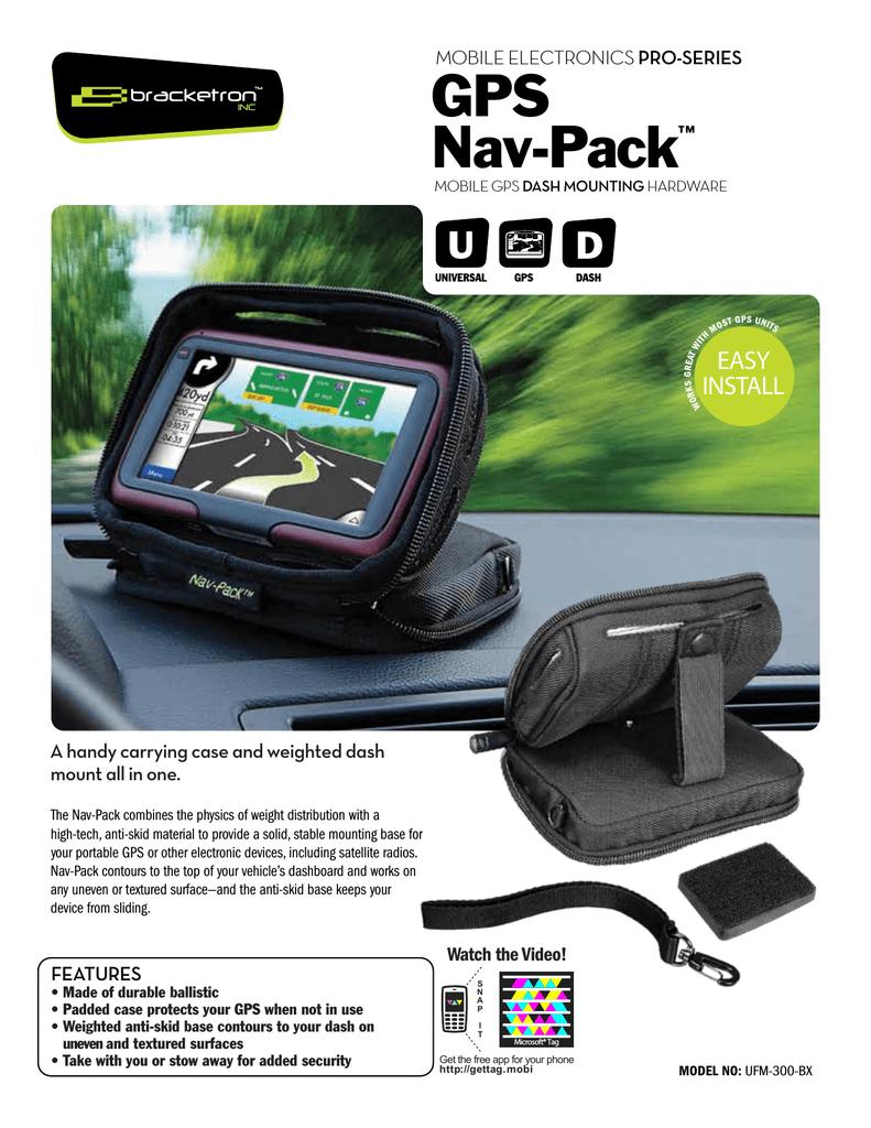 Bracketron UFM-300-BX Nav-Pack Weighted GPS Dash Mount//Carrying Case