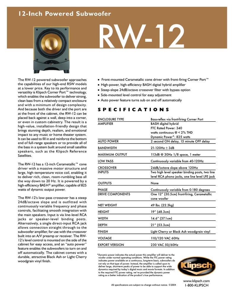 Klipsch RW-12 subwoofer