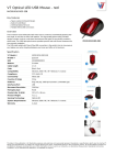 V7 Optical LED USB Mouse - red