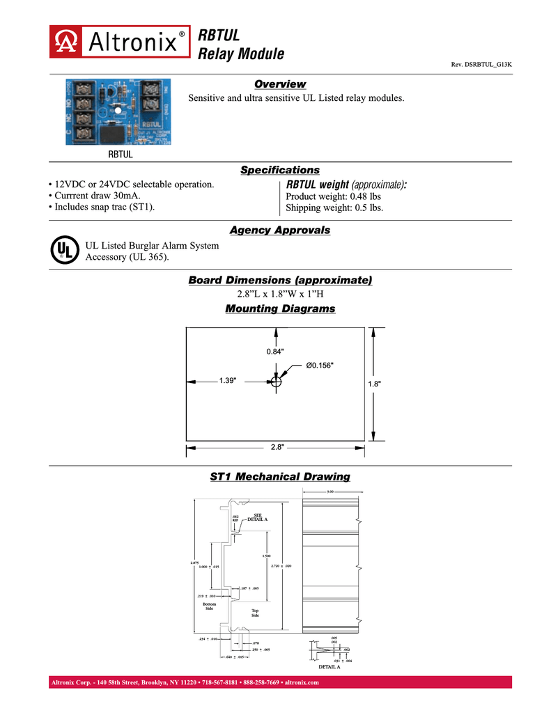 Altronix Relay Module Diagram Engine Control Wiring Timer Rbtul Power Rh Manualzilla Com Rb5 Logo