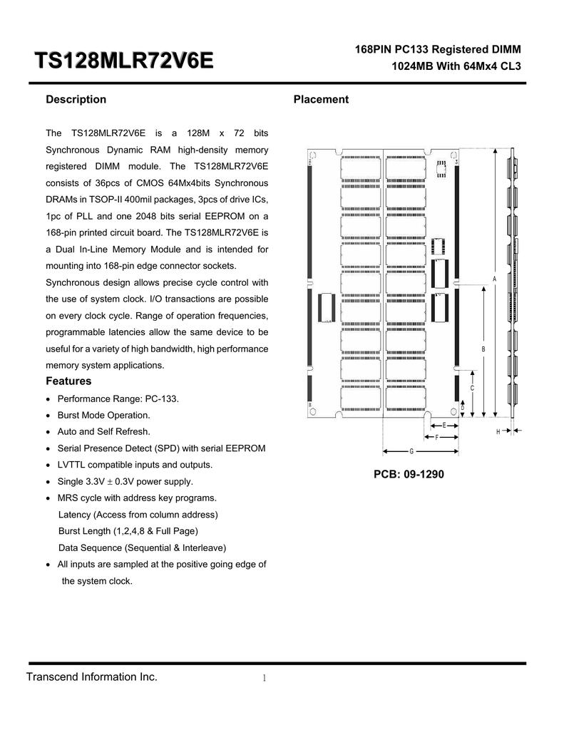 1GB SDRAM MEMORY RAM PC66 ECC 10NS REG DIMM 168-PIN