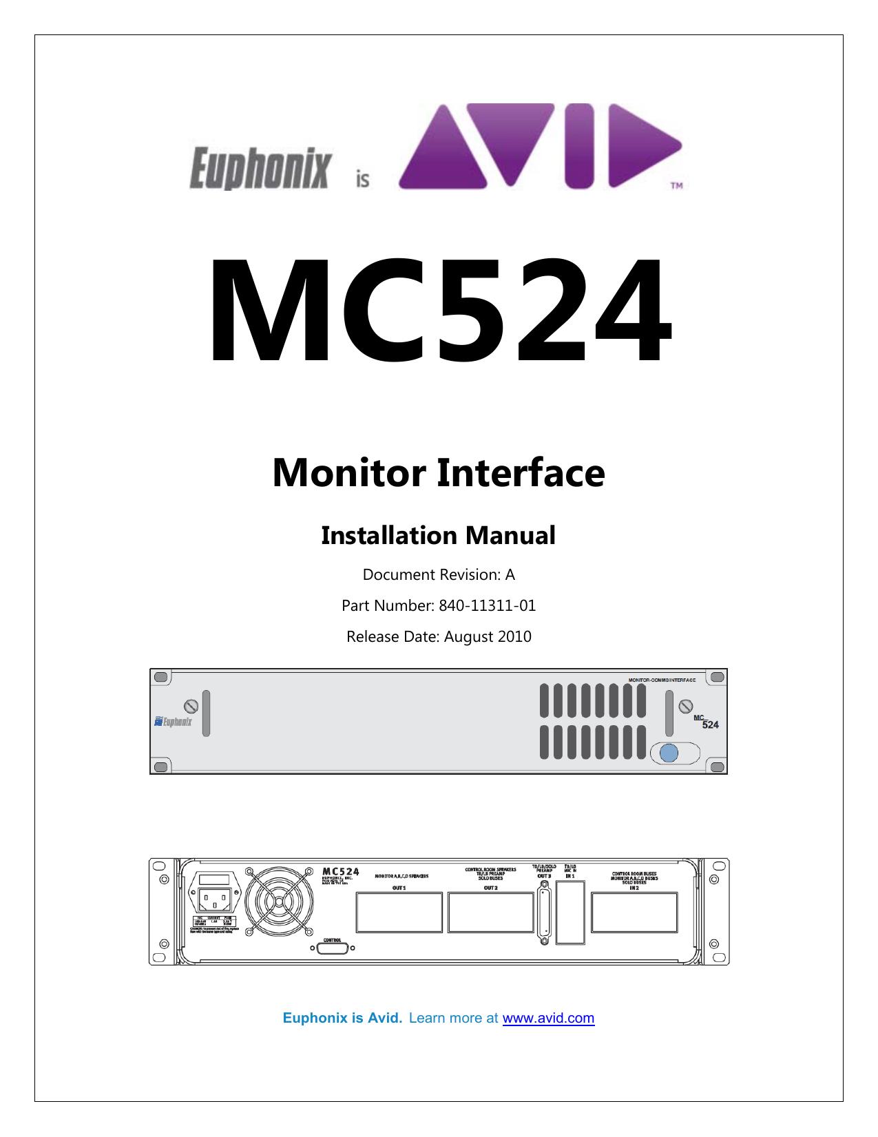 MC524 Monitor Interface Installation Manual
