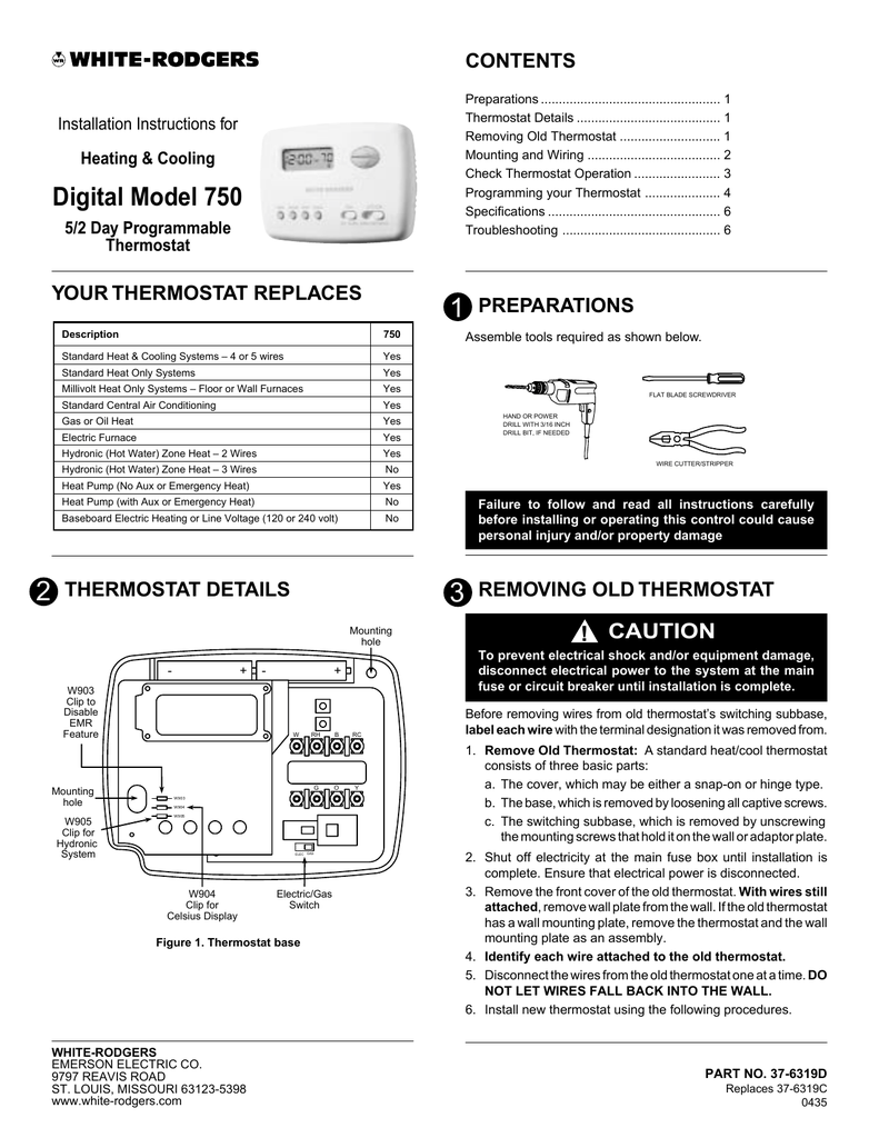 White Rodgers 750 Thermostat User Manual on