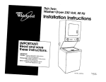 Whirlpool 3LTE5243BN0 Washer/Dryer User Manual
