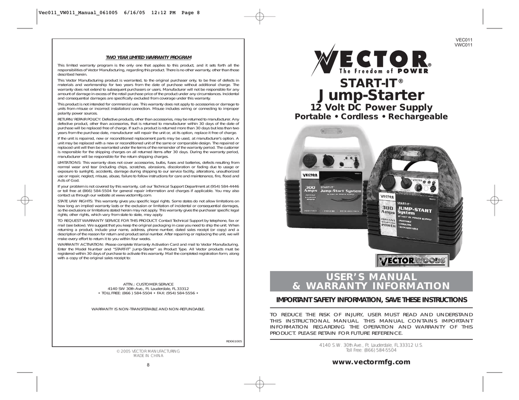 vector vec011 automobile battery charger user manual  manualzilla.com