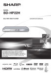 Sharp BD-HP22H Blu-ray Player User Manual