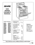 Sears 75375 Range User Manual