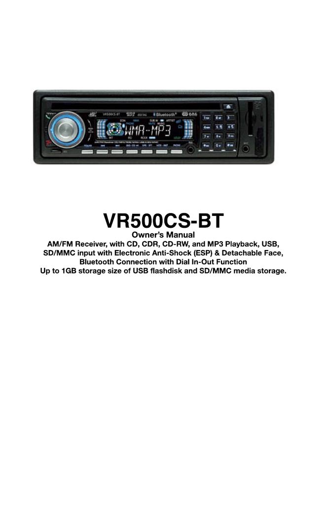 roadmaster vr500csbt car stereo system user manual