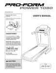 ProForm 1800 Treadmill User Manual