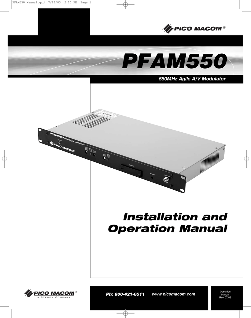 pico macom pfam550 stereo receiver user manual rh manualzilla com