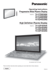 Panasonic TH-42PWD8WS Flat Panel Television User Manual