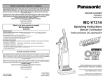 Panasonic MC-V7314 Vacuum Cleaner User Manual