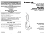 Panasonic MC-V225 Vacuum Cleaner User Manual