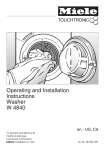 Miele W 4840 Washer/Dryer User Manual