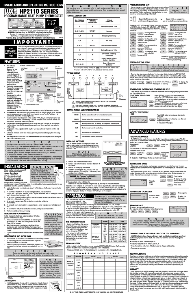 Lux Products Hp2110 Thermostat User Manual 1500 Wiring Diagram