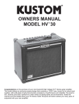 Kustom HV 30 Stereo Amplifier User Manual