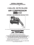 Harbor Freight Tools 47407 Air Compressor User Manual