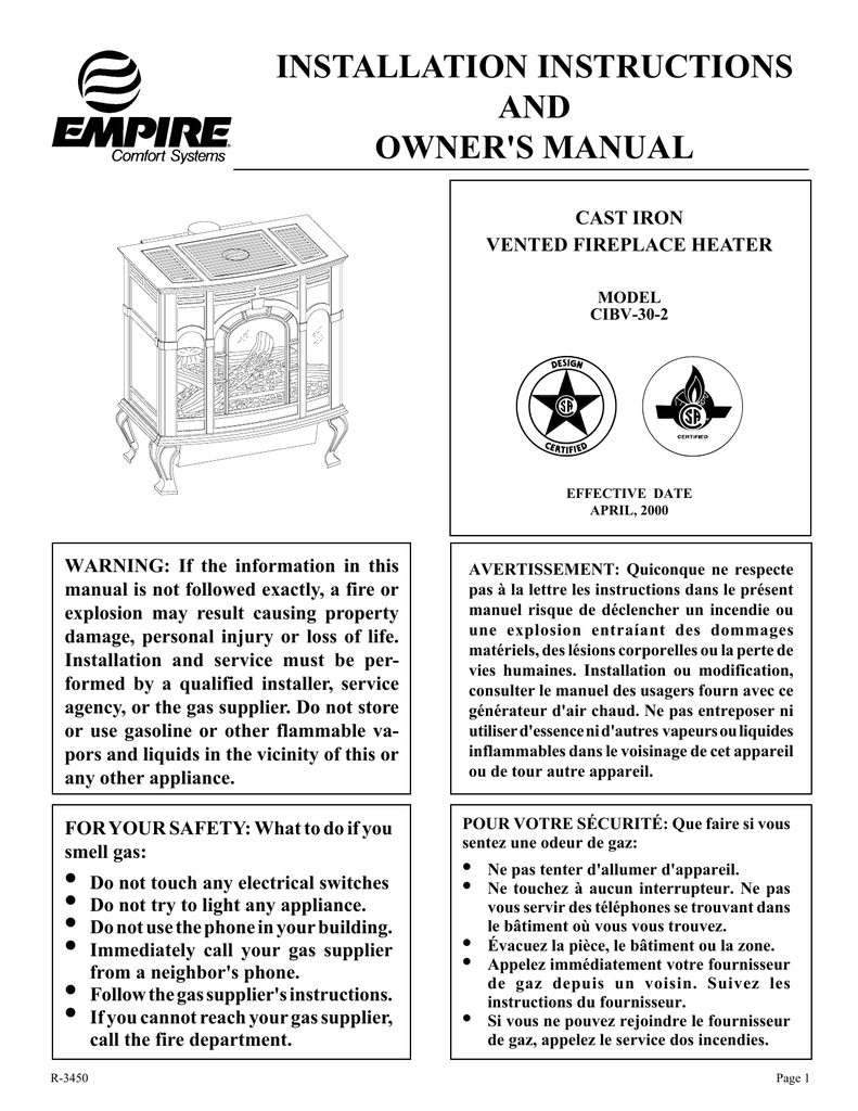 Empire Comfort Systems Cibv 30 2 Indoor Fireplace User Manual Wall Furnace Wiring Diagram
