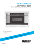Dacor MMDH30S Microwave Oven User Manual