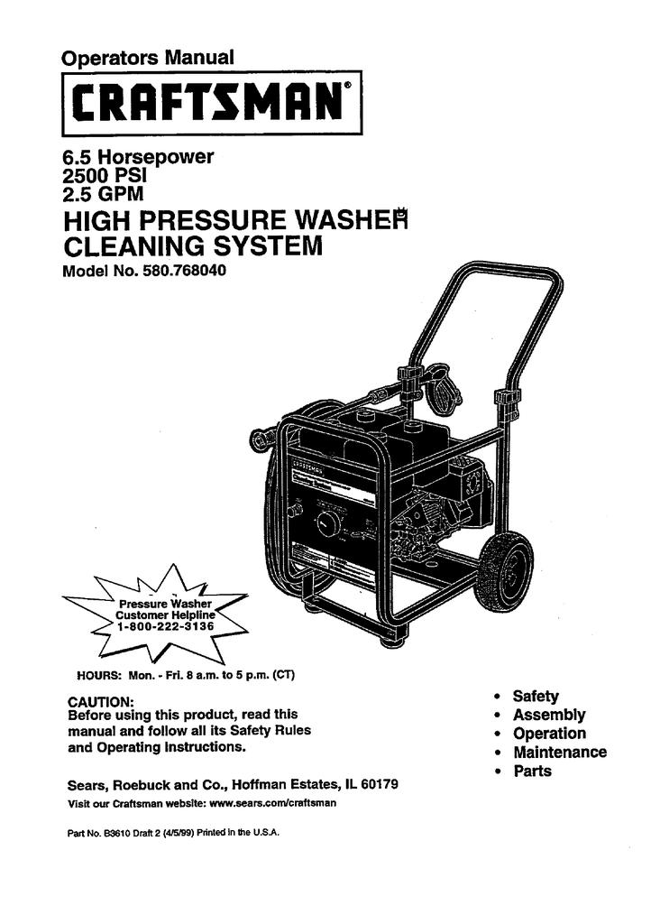 craftsman 580 76804 pressure washer user manual rh manualzilla com Manual for Pressure Washer Honda Xr2600 Power Washer Manual