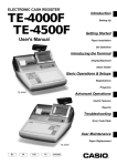 Casio TE-4000F Cash Register User Manual