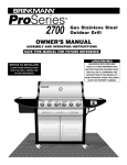 Brinkmann 2700 Gas Grill User Manual