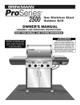 Brinkmann 2500 Gas Grill User Manual