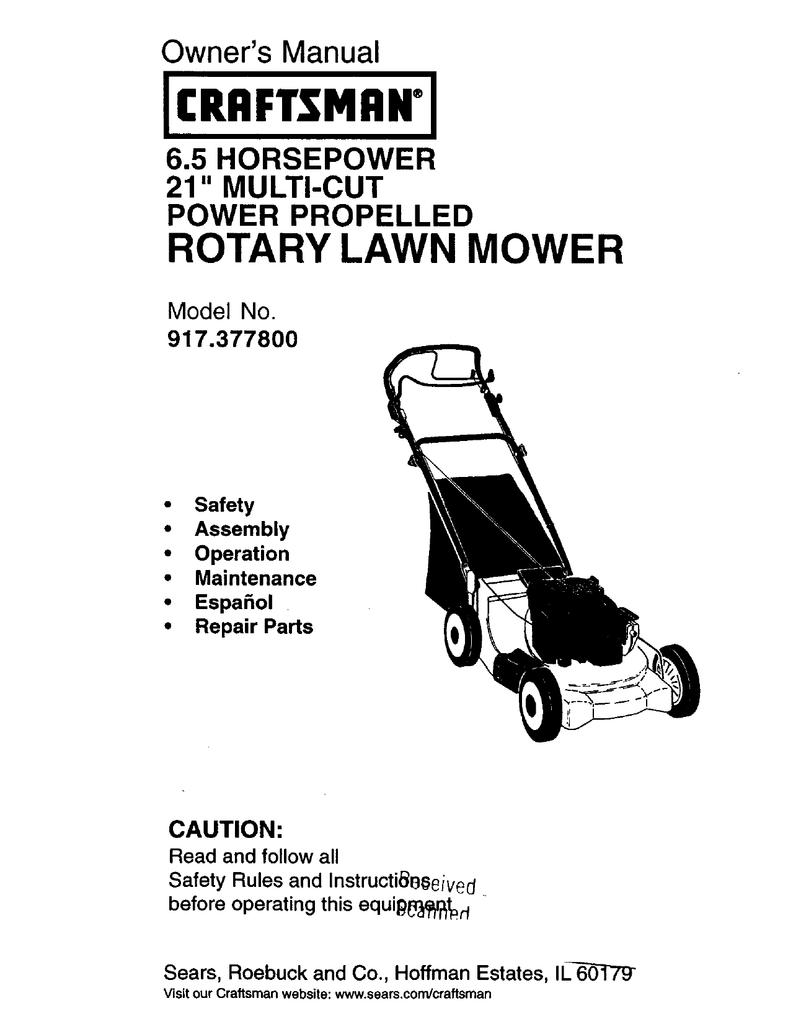 craftsman 917 377800 owner s manual rh manualzilla com Self-Propelled Lawn Mower Parts QVC Electric Lawn Mowers
