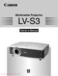 Canon LV S3 - SVGA LCD Projector Owner`s manual