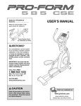 ProForm 585 Cse Elliptical User`s manual