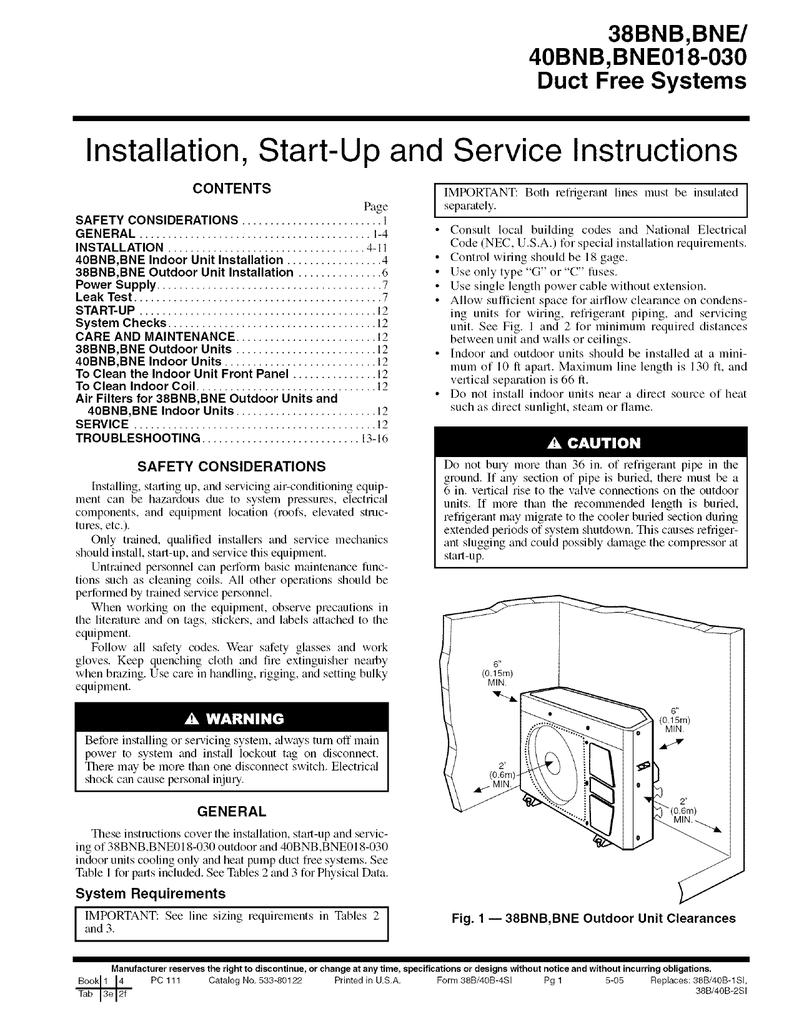 Carrier 38BNB018-036 Unit installation
