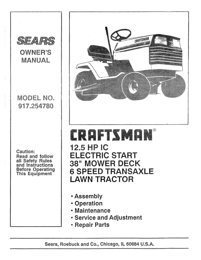 Sears Craftsman 917 Mower Manual Baik Bag 271021 Lawn Wire Diagram 286707 Riding Data Wiring Diagrams