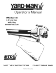 Yard-Man YMGBV3100 Operator`s manual