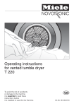 Miele T 220 Operating instructions