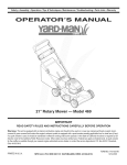 Yard-Man 469 Operator`s manual