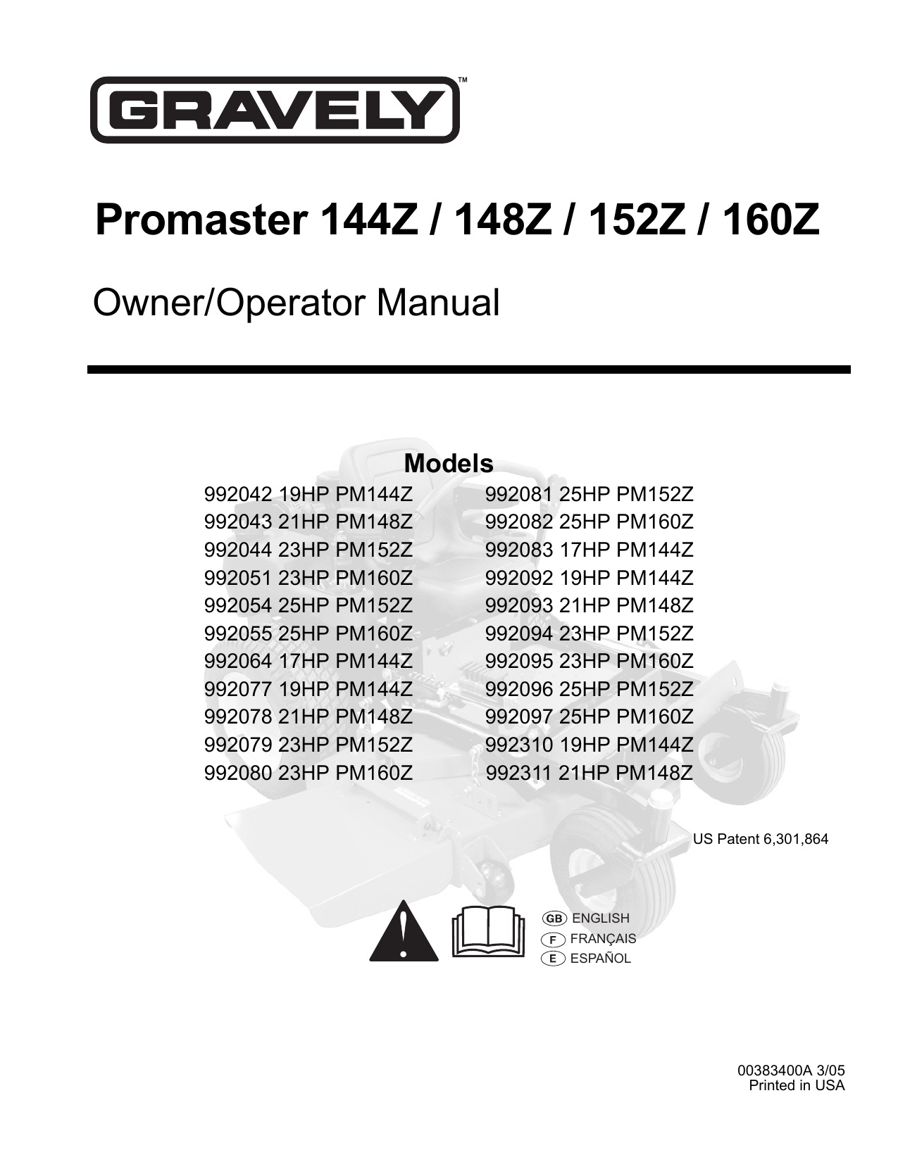Ariens Promaster 144Z Specifications
