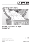 Miele T 8826 WP Operating instructions