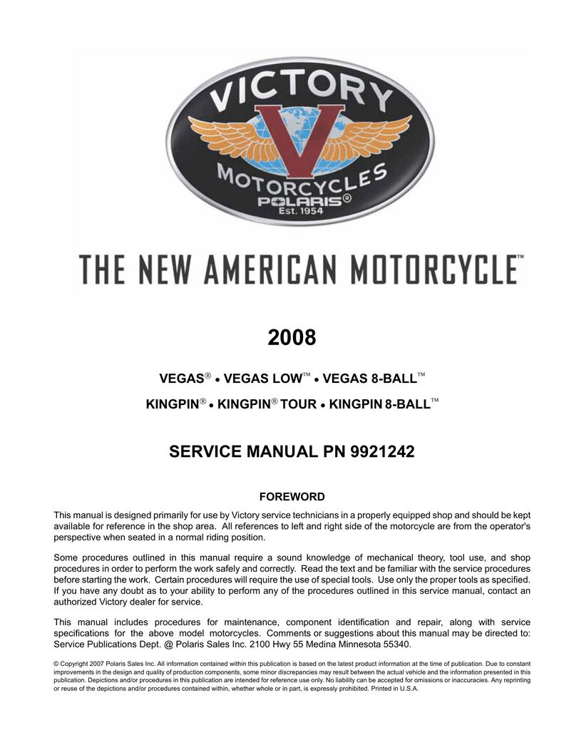 Victory Vegas Jackpot Service manual on