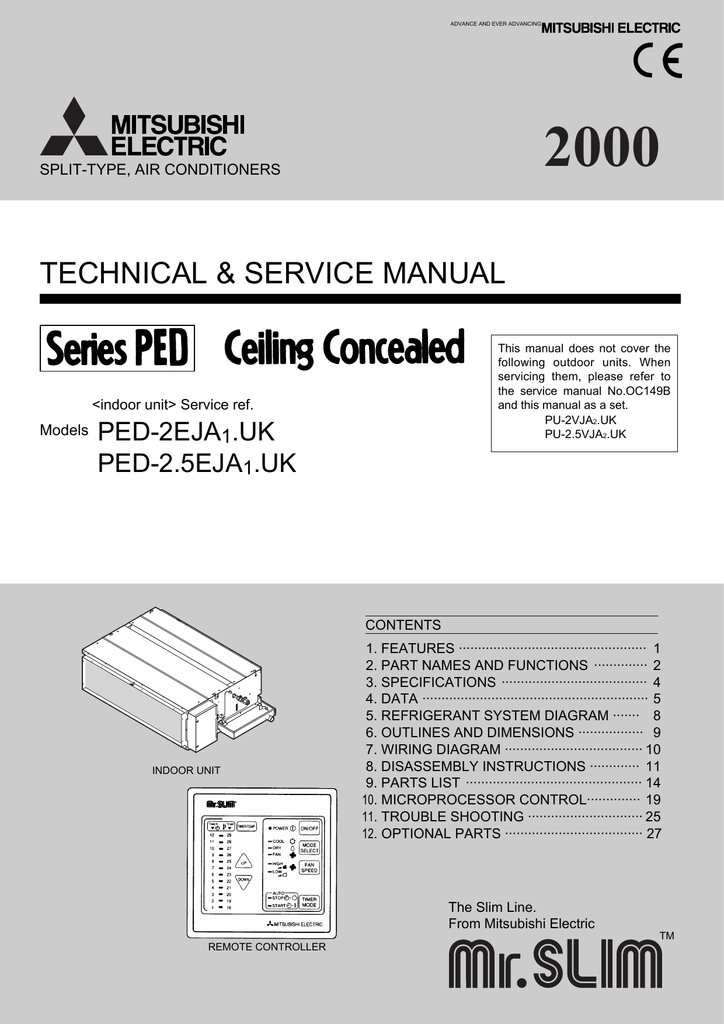 mitsubishi electric mr slim ped 2eja1 uk service manualMr Slim Condenser Wiring Diagram For #19
