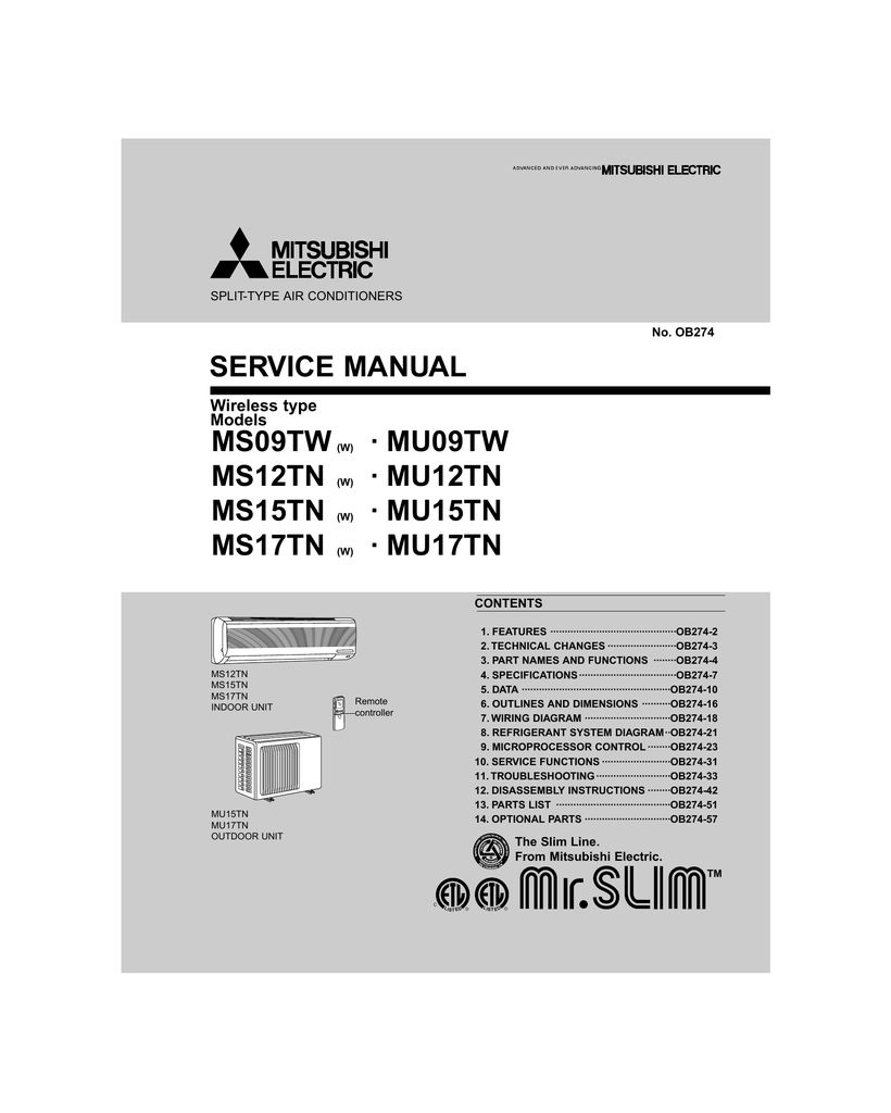 Mitsubishi Electric MR-385CL Service manual