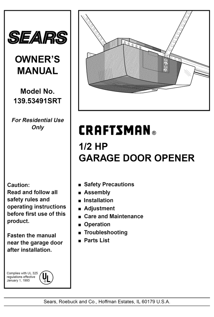 Craftsman 139 53491srt Owner S Manual